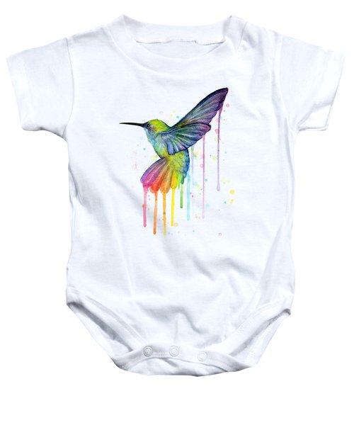 Hummingbird Of Watercolor Rainbow Baby Onesie
