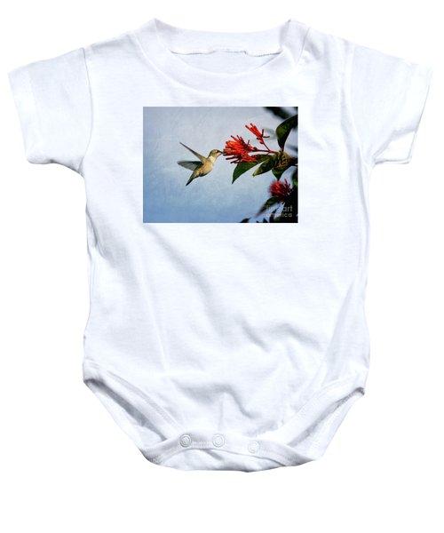 Hummingbird Red Flowers Baby Onesie
