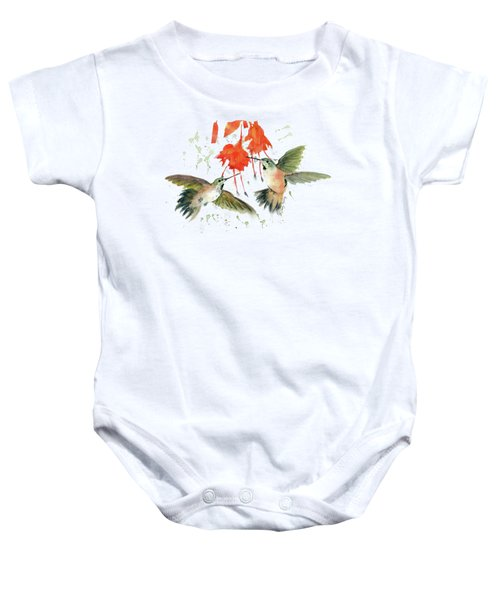 Hummingbird Watercolor Baby Onesie