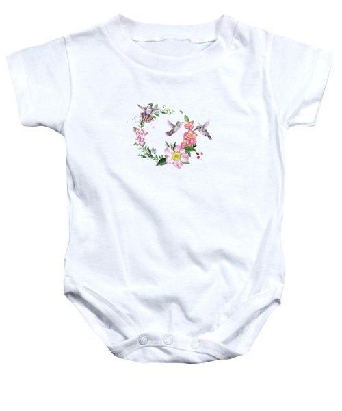 Hummingbird Wreath In Watercolor Baby Onesie