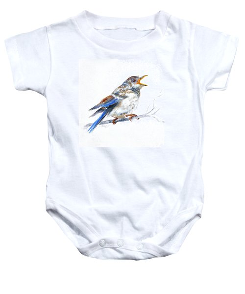 Hungry Fledgling Blue Bird Baby Onesie
