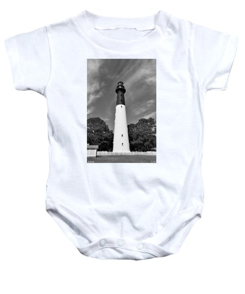 Hunting Island Lighthouse Beaufort Sc Black And White Baby Onesie