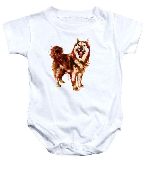 Husky Dog Watercolor Baby Onesie
