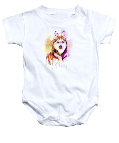 Husky Dog Watercolor Portrait Baby Onesie