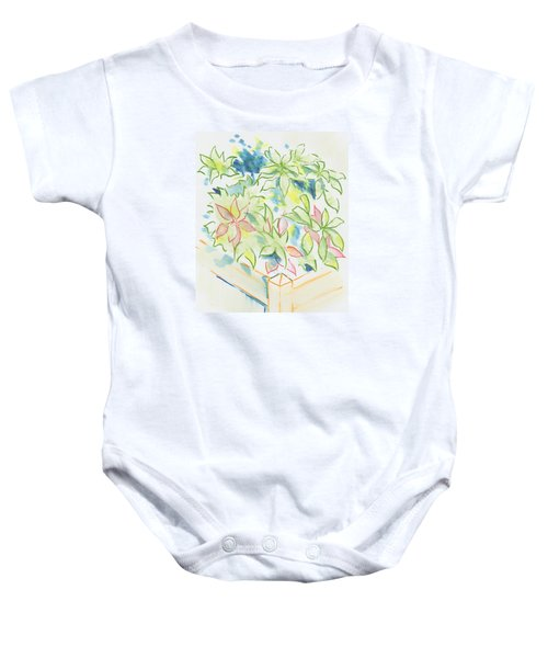 Hydrangea Plant Growing Out Of A Square Wooden Planter Baby Onesie