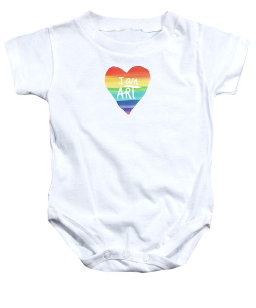 I Am Art Rainbow Heart- Art By Linda Woods Baby Onesie