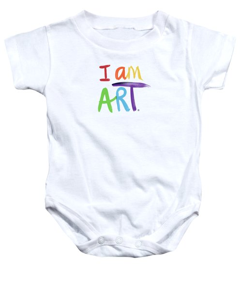 I Am Art Rainbow Script- Art By Linda Woods Baby Onesie