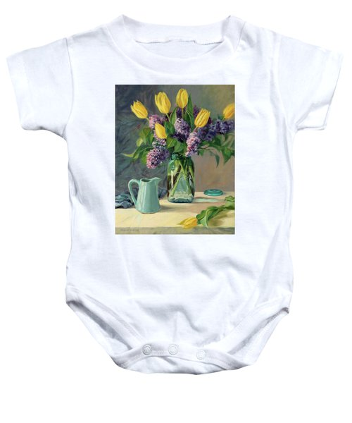 Ideal - Yellow Tulips And Lilacs In A Blue Mason Jar Baby Onesie