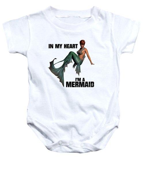 In My Heart I'm A Mermaid Baby Onesie by Esoterica Art Agency