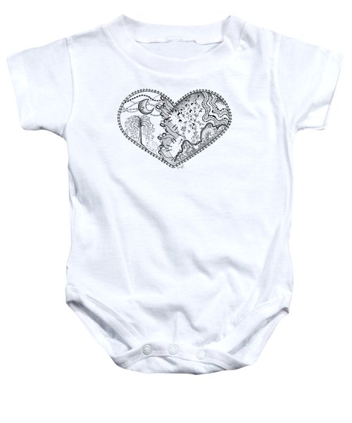 Baby Onesie featuring the drawing Repaired Heart by Ana V Ramirez