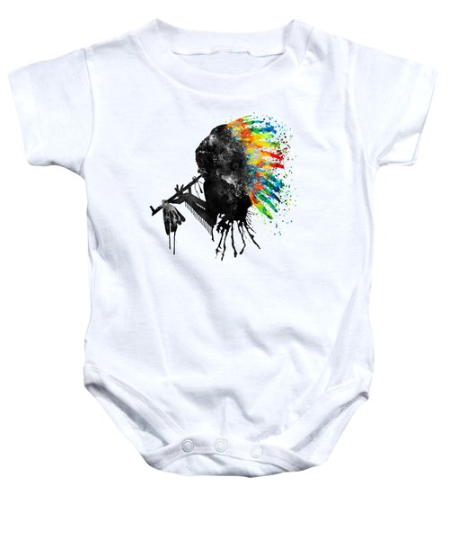 Indian Silhouette With Colorful Headdress Baby Onesie by Marian Voicu