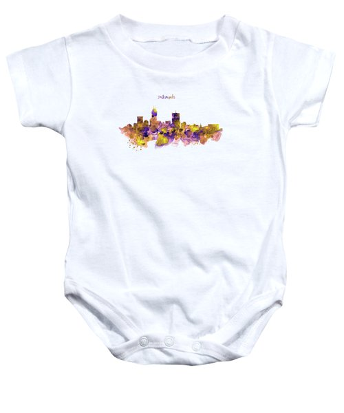 Indianapolis Skyline Silhouette Baby Onesie by Marian Voicu