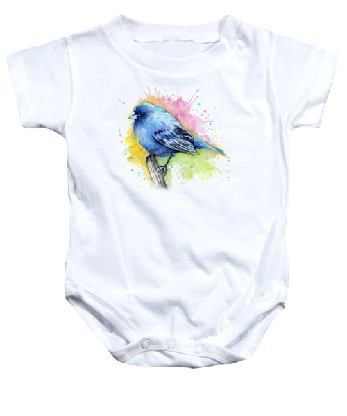 Indigo Bunting Blue Bird Watercolor Baby Onesie by Olga Shvartsur