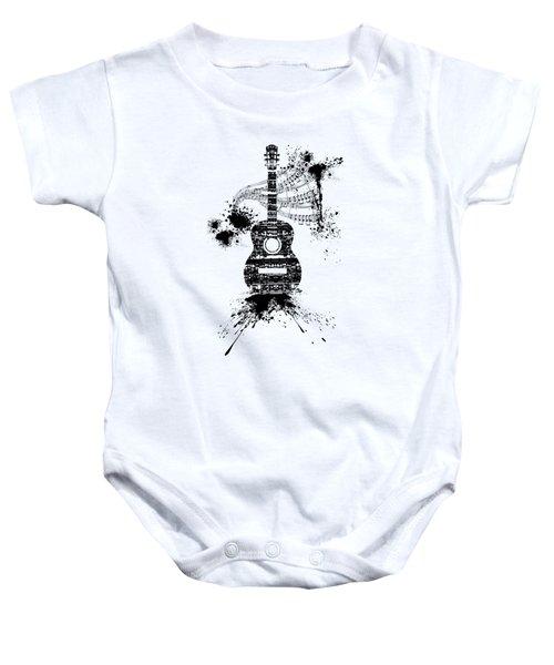 Inked Guitar Transparent Background Baby Onesie