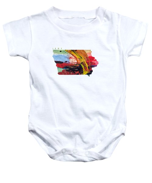 Iowa Map Art - Painted Map Of Iowa Baby Onesie
