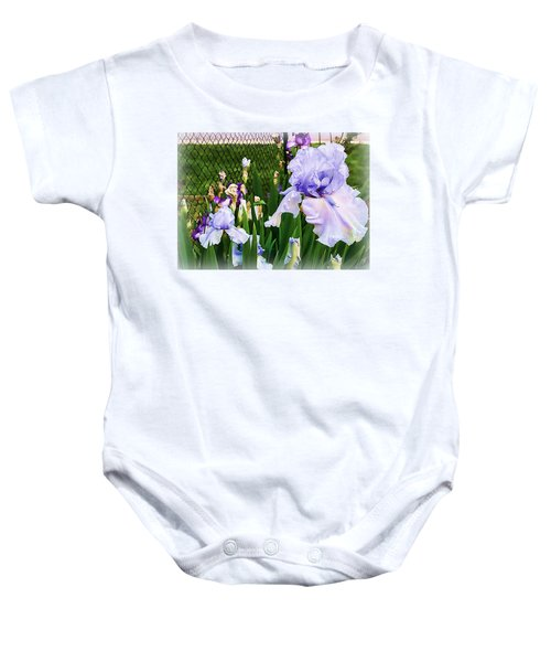 Iris At Fence Baby Onesie by Larry Bishop
