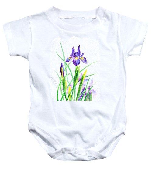 Iris Flowers Botanical  Baby Onesie