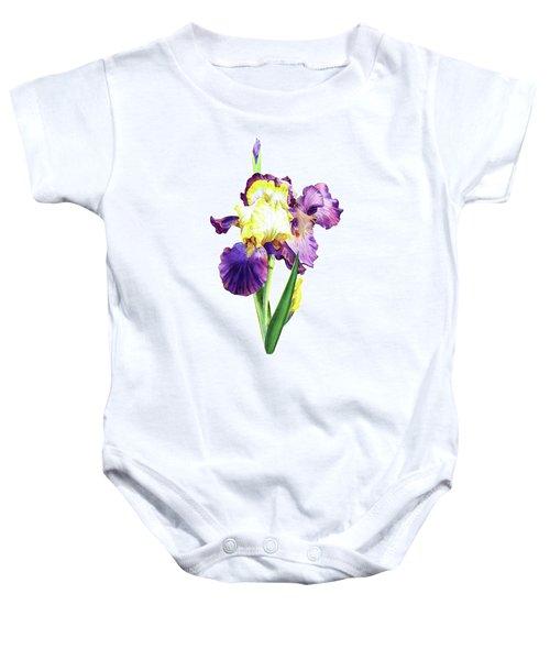 Iris Flowers Watercolor  Baby Onesie