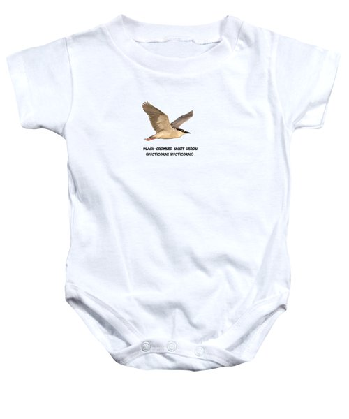Isolated Black-crowned Night Heron 2017-6 Baby Onesie by Thomas Young