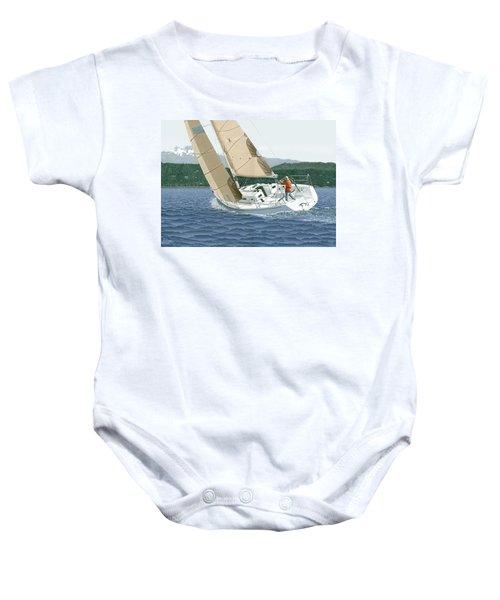 J-109 Sailboat Sail Boat Sailing 109 Baby Onesie