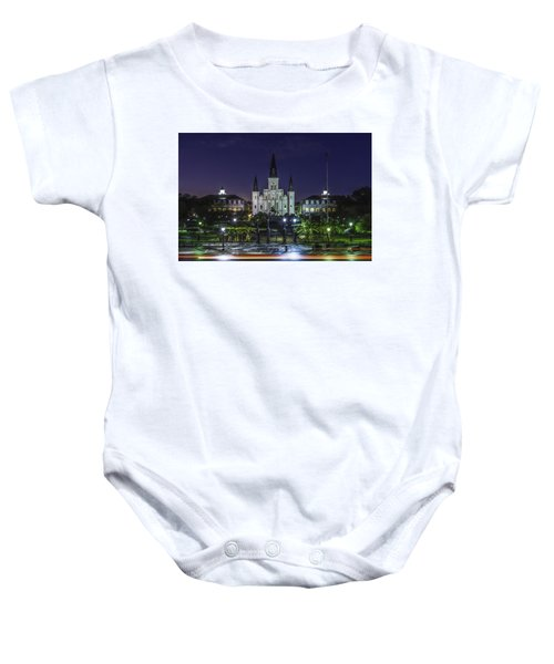 Jackson Square And St. Louis Cathedral At Dawn, New Orleans, Louisiana Baby Onesie