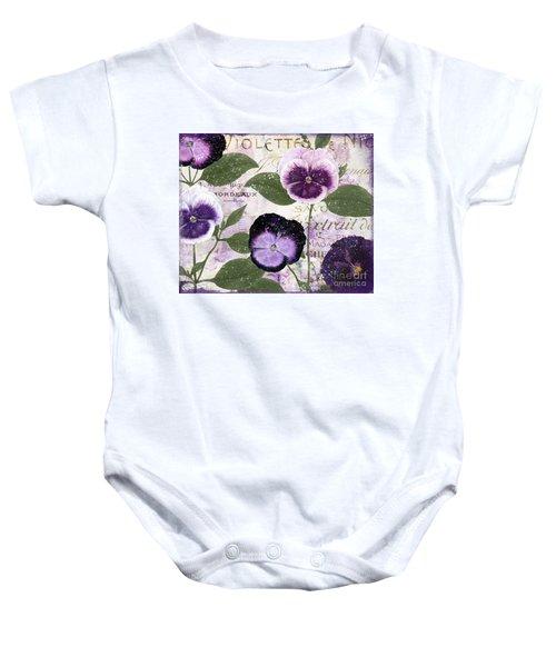 January Purple Pansies Baby Onesie