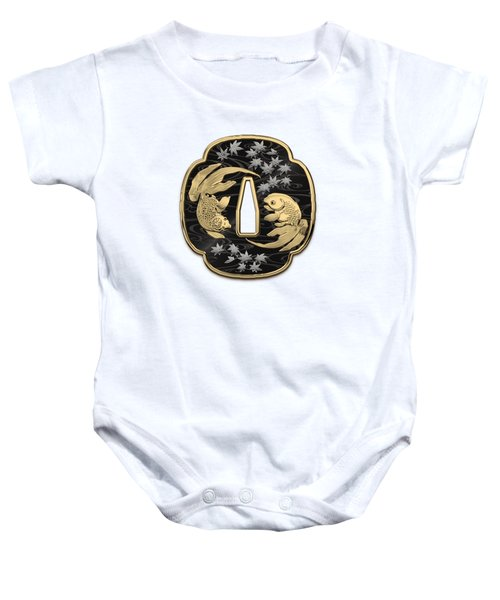 Japanese Katana Tsuba - Twin Gold Fish On Black Steel Over White Leather Baby Onesie