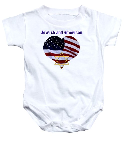 Jewish And American Flag With Star Of David Baby Onesie
