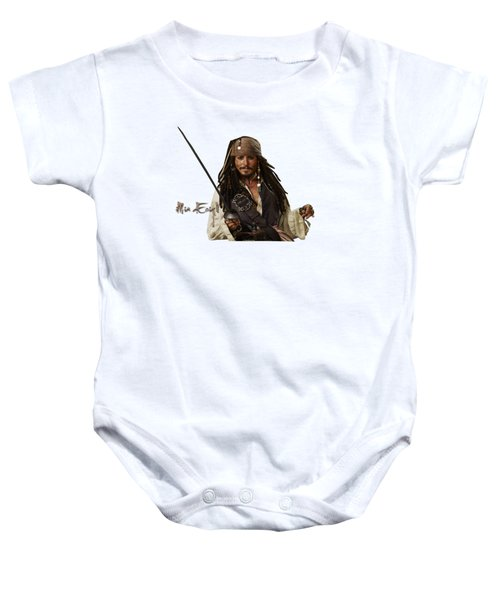 Johnny Depp, Pirates Of The Caribbean Baby Onesie by Maria Astedt