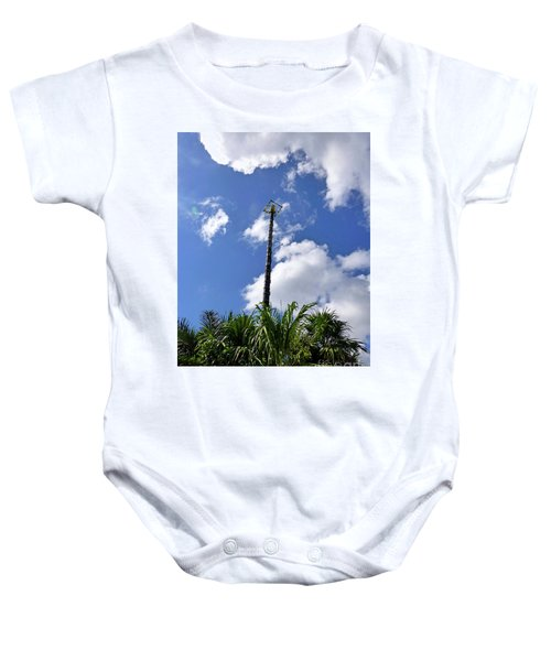 Baby Onesie featuring the photograph Jungle Bungee Tower by Francesca Mackenney