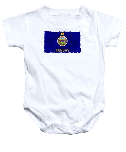 Kansas Flag Baby Onesie by World Art Prints And Designs