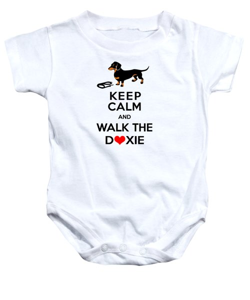 Keep Calm And Walk The Doxie Baby Onesie by Antique Images