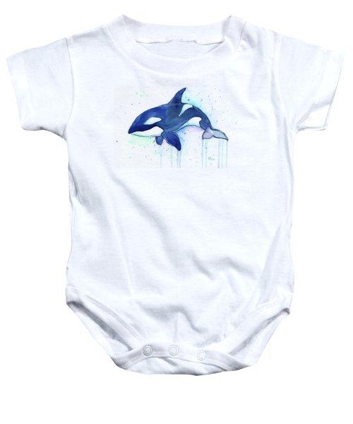Kiler Whale Watercolor Orca  Baby Onesie