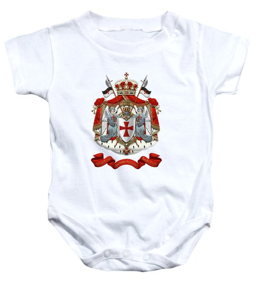 Knights Templar - Coat Of Arms Over White Leather Baby Onesie by Serge Averbukh