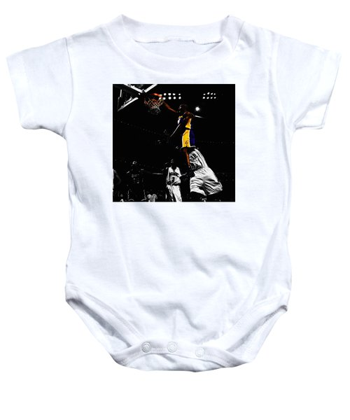 Kobe Bryant On Top Of Dwight Howard Baby Onesie by Brian Reaves