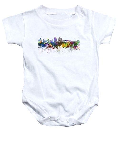 Kolkata Skyline In Watercolor Background Baby Onesie