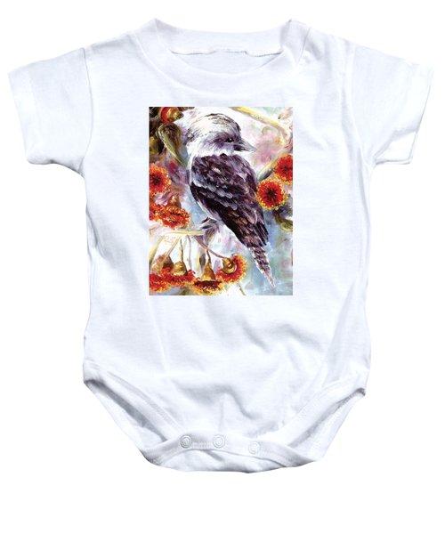 Kookaburra In Red Flowering Gum Baby Onesie