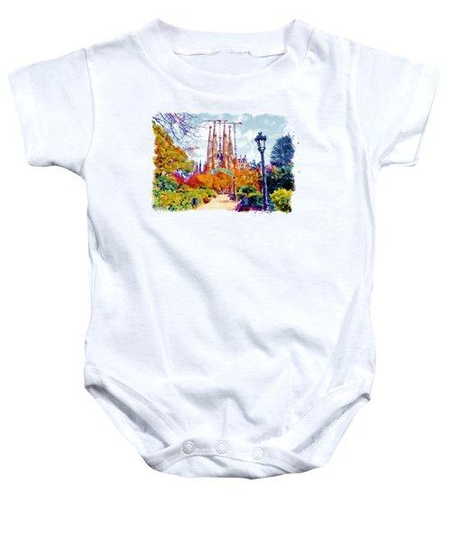La Sagrada Familia - Park View Baby Onesie by Marian Voicu