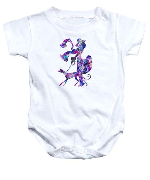 Lady Dog Walker Splashes Transparent Background Baby Onesie