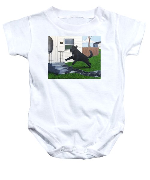 Lady Leaps The Small Front Stairs Baby Onesie