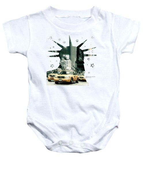 Lady Liberty And The Yellow Cabs Baby Onesie