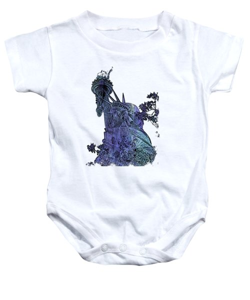 Lady Liberty Berry Blues 3 Dimensional Baby Onesie