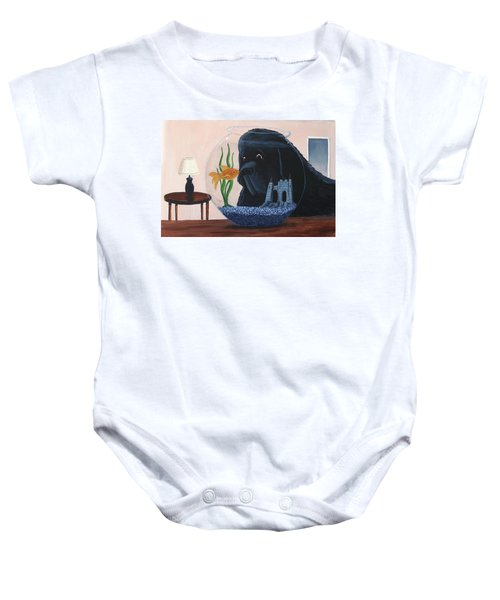 Lady Looks In The Fish Bowl For Mommy And Daddy Baby Onesie