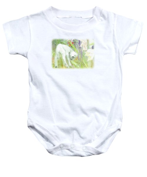 Lamb And Lilies Baby Onesie