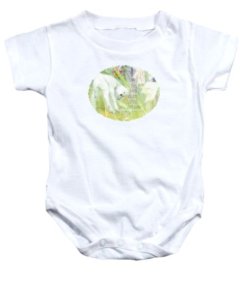 Lamb And Lilies - Verse Baby Onesie by Anita Faye