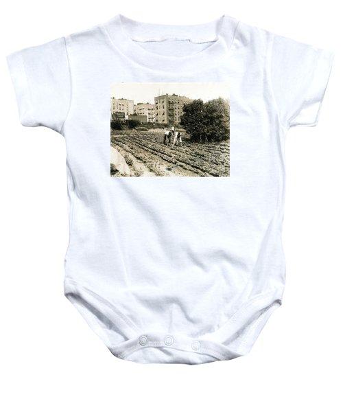 Last Working Farm In Manhattan Baby Onesie by Cole Thompson