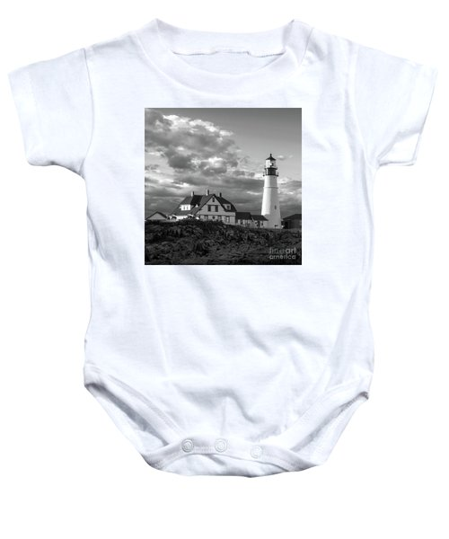 Late Afternoon Clouds, Portland Head Light  -98461-sq Baby Onesie