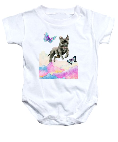 Leap - Pit Bull Dog, Rainbow Clouds, And Butterflies Baby Onesie