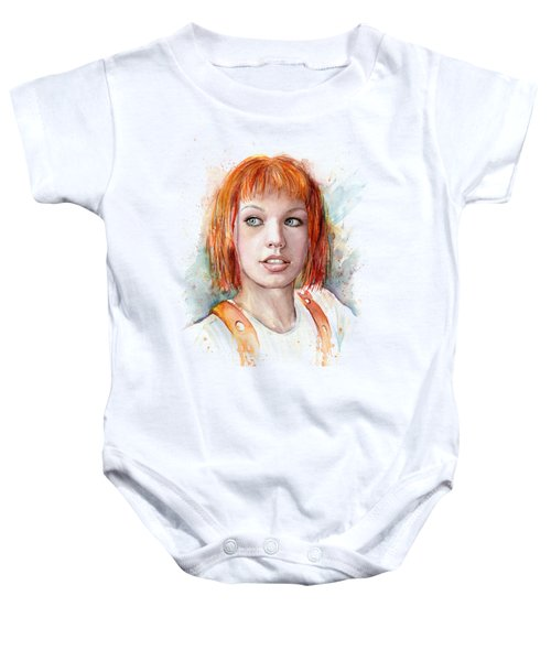 Leeloo Portrait Multipass The Fifth Element Baby Onesie by Olga Shvartsur