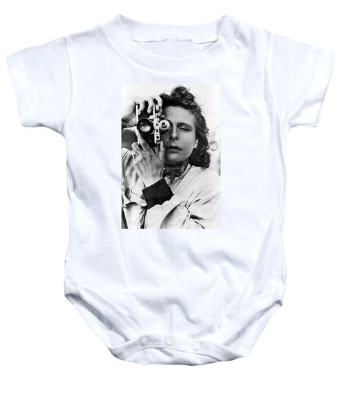 Leni Riefenstahl With A Leica Unknown Photographer Or Date Baby Onesie